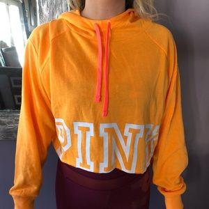 Victoria Secret pink long sleeve hoodie crop top
